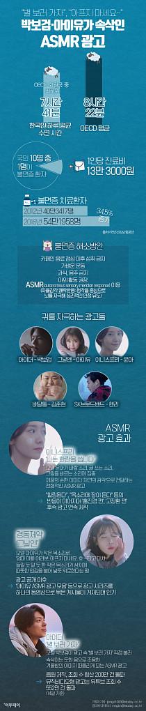 """[인포그래픽] """"별 보러 가자"""", """"아프지 마세요~"""" 박보검·아이유가 속삭인 ASMR 광고"""
