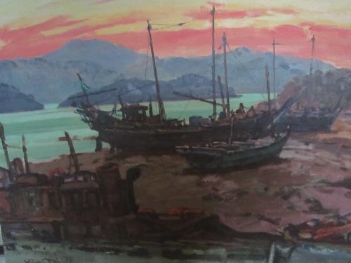 ▲새벽어촌. 손장섭 72.7 x 53 캔버스에 유채 1989