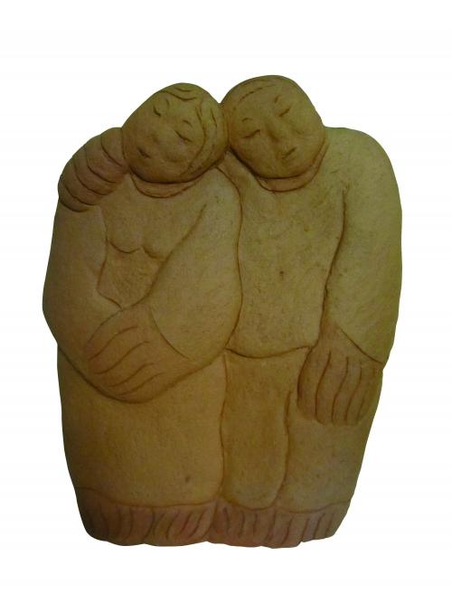 ▲한애규 '어깨동무' 테라코타. 30cm*13cm*48cm. 2004.
