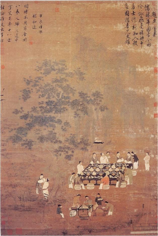 ▲1. 송나라시대의 문회도(文會圖), 184.4×123.9cm, 1100~1125