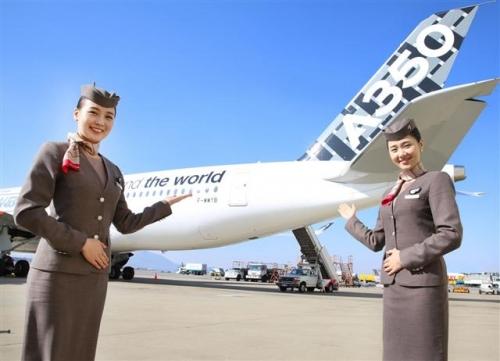 ▲아시아나항공이 내년부터 도입 예정인 A350 XWB 항공기. 사진제공 금호아시아나그룹