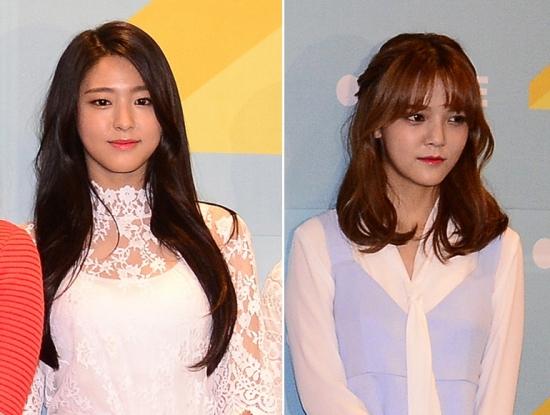 ▲케이블TV에 출연한 걸그룹 AOA 설현(왼쪽)과 지민이 역사의식 부족으로 시청자에게 비난을 받았다. (뉴시스)
