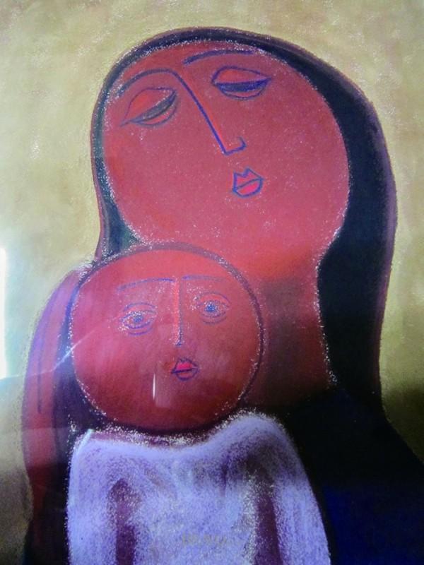 ▲최종태 <어머니와 아들>. 종이에 파스텔 31cmx38cm, 1989년
