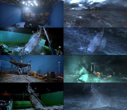 ▲'도깨비' 1, 2회 배 신 CG 작업을 위한 촬영 모습