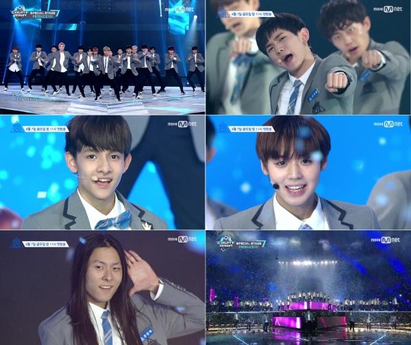 ▲'프로듀스101' 참가 연습생들의 '나야 나' 무대(사진=Mnet '엠카운트다운')