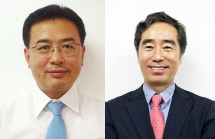 ▲신영섭 JW중외제약 대표(왼쪽)와 백승호 JW신약 대표