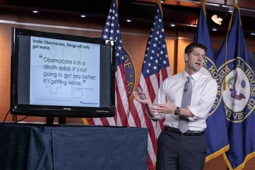 ▲뉴욕타임스(NYT)가 오바마케어 대체 방안으로 싱가포르 건강보험 시스템을 벤치마킹 해야 한다고 주장해 눈길을 끌고 있다. 폴 라이언 미국 하원의장이 9일(현지시간) 공화당 하원의원들이 작성한 오바마케어 대체 법안을 설명하고 있다. 워싱턴/AP뉴시스