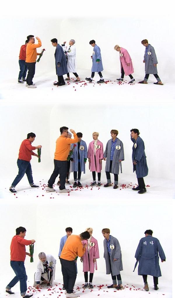 ▲'주간아이돌'에 완전체로 출연한 그룹 하이라이트(사진=MBC에브리원)