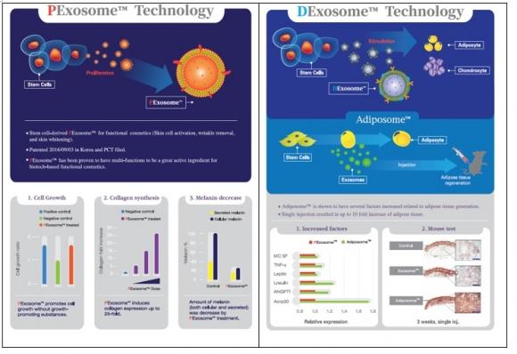 ▲엑소코바이오가 보유한 원천기술 PExosome™, DExosome™ 기술. 엑소코바이오 제공.