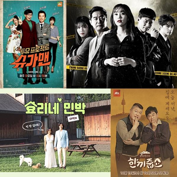 ▲왼쪽 상단부터 시계방향으로 윤현준 CP가 기획 및 연출에 참여한 JTBC '슈가맨', '크라임씬', '한끼줍쇼', '효리네민박'(출처=JTBC)