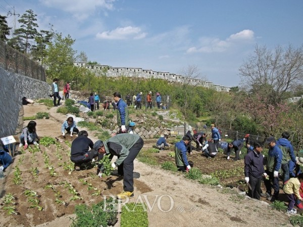 ▲파종시기를 맞아 진행됐던 성곽마을 텃밭 개장식. 많은 주민들의 자발적인 참여가 돋보였다.(사진제공 이화진 사진가)