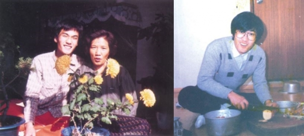 ▲1987년 6월 이한열 열사의 피격 전후 모습이 담긴 사진이 최초로 공개됐다. 사진은 대학 1학년 당시 이한열 열사가 모친과 함께 한 모습(왼쪽)과 대학MT 모습.(이한열기념사업회 홈페이지)