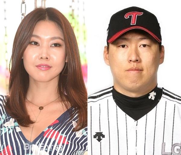 ▲배우 한혜진(왼쪽) 야구선수 차우찬(출처=이투데이DB, LG트윈스)