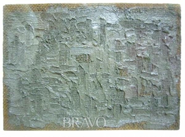 ▲하종현 <접합> 마대에 유채 36cm×25cm 1996년(이재준)