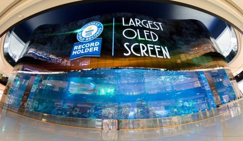▲ 세계 최대 규모의 쇼핑몰인 두바이몰에 설치된  초대형 '올레드 사이니지'. (사진제공=LG전자)