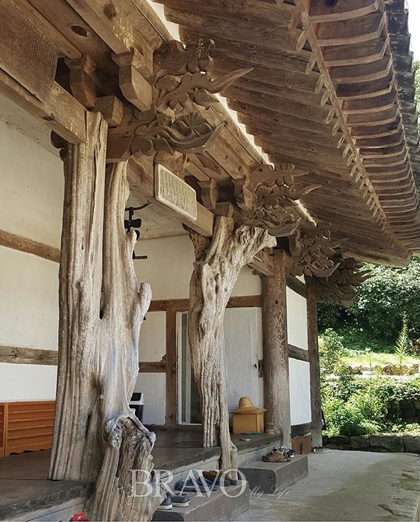 ▲구례 화엄사(華嚴寺) 요사(寮舍) 구층암(九層庵) 모과나무 기둥.