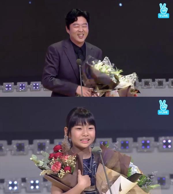 ▲남녀조연상을 수상한 배우 김희원, 김수안(사진=제26회 부일영화상 생중계 화면)