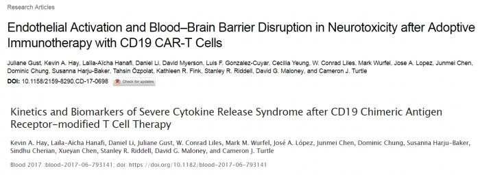 ▲CAR-T 부작용을 예측하는 바이오마커에 관한 두편의 논문