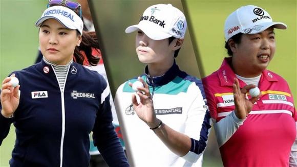 ▲유소연, 박성현, 펑샨샨(왼쪽부터)