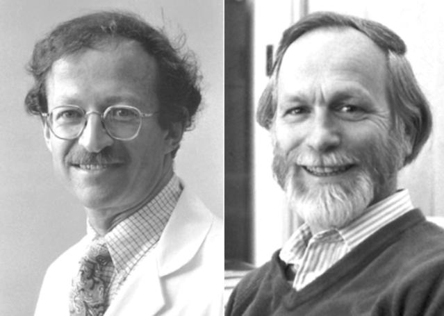 ▲그림 3: 해롤드 바무스(Harold E Varmus)와 마이클 비숍(Micheal J Bishop) 은 레트로바이러스가 어떻게 암을 유발하는지를 규명하였고, 이들은 1989년 노벨 생리의학상을 수상한다. 이들의 발견은 단지 레트로바이러스의 암 유발을 넘어서 암유전자 (Oncogene) 의 분자적 이해의 기반을 마련한다.