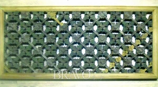 ▲꽃살 무늬 나무 문(손조각 짜맞춤) 38cm×75cm, 근대