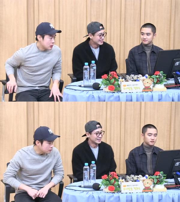 ▲'컬투쇼' 김동영 신하균 도경수(사진=SBS 파워FM)