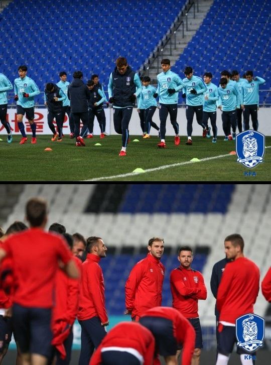 ▲한국 대표팀(위)과 세르비아 대표팀 훈련 모습.(출처=대한축구협회)
