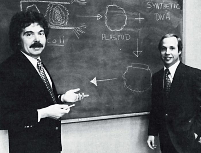 ▲그림 3 제넨테크 창립의 두 주역인 허버트 보이어 (Herbert Boyer)와 로버트 스완슨 (Robert Swansons)