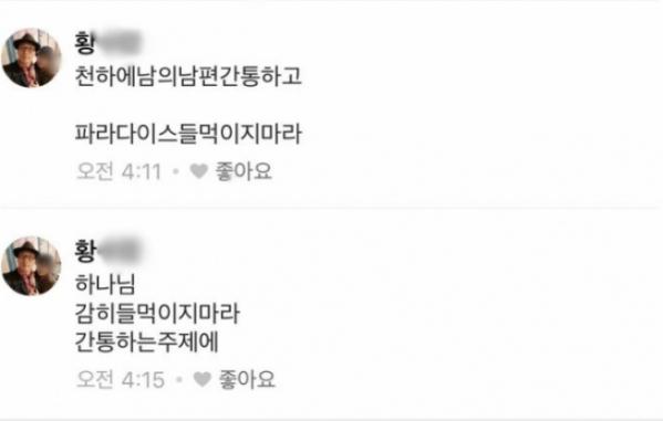 ▲낸시랭이 SNS를 통해 공개한 황 씨의 협박 댓글(사진=낸시랭 SNS)