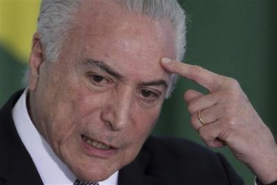 ▲미셰우 테메르 브라질 대통령. 브라질리아/AP연합뉴스