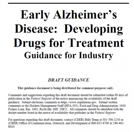 ▲2월 15일자로 발표된 FDA 알츠하이머병 개혁안 초안