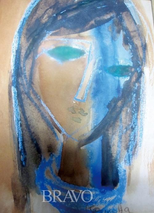 ▲[그림1] 박근자 '푸른 눈의 소녀' 종이에 수채, 파스텔 24×17cm, 1979년(이재준 미술품 수집가)