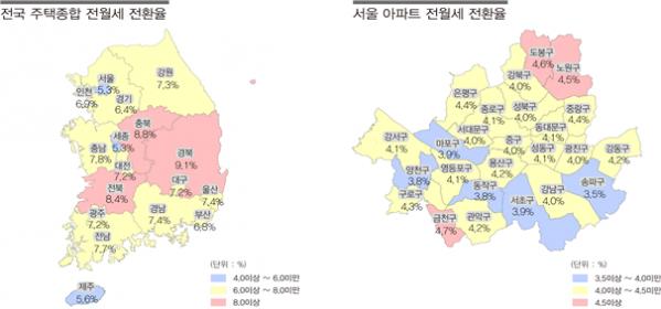 ▲2017년 12월 주택종합 전월세전환율 지역별 현황(자료=한국감정원)