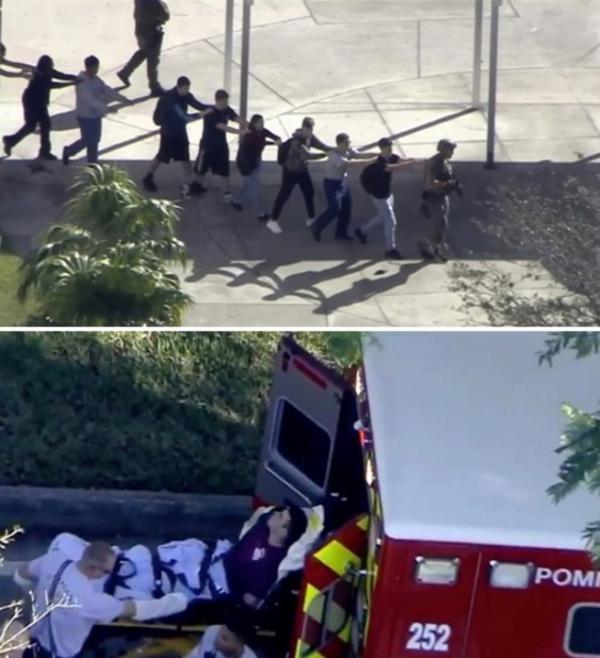 ▲미국 플로리다 주의 한 고등학교에서 14일(현지시간) 오후 총기 난사 사건이 발생해 17명이 사망했다고 브로워드 카운티 셰리프국이 밝혔다.  (연합뉴스)
