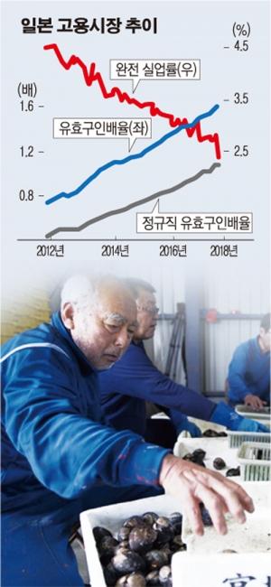 ▲일본 미야기 현의 한 어촌에서 노인들이 경매에 내놓을 조개를 선별하는 작업을 하고 있다. 일본은 저출산 고령화로 노동인구가 급격히 줄고 있으나 대안인 이민 개혁에 대한 반감이 크다.  블룸버그