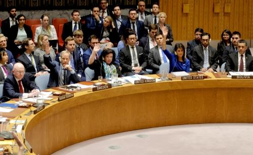 ▲유엔안전보장이사회 회원국들이 14일(현지시간) 뉴욕 유엔본부에 모여 시리아 공습을 규탄하는 러시아의 결의안 표결에 참여하고 있다. 뉴욕/UPI연합뉴스