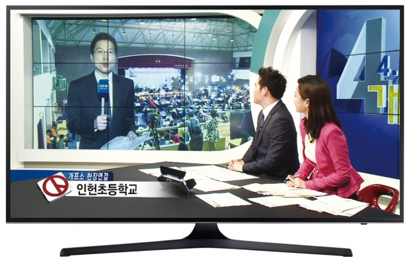 ▲2015년 지방선거 당시 현대 HCN이 진행한 개표생중계 방송.