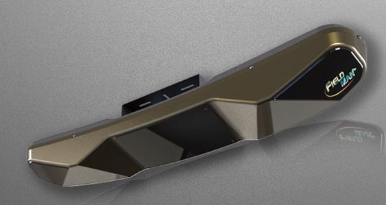 ▲야디지코리아가 개발한 천정에 부착된 무선방식의 차세대 타석스크린골프 장비
