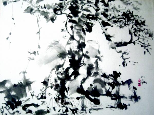 ▲[사진1] 박대성 '송풍라월도' 종이에 먹, 60×50cm, 1998년(이재준 미술품 수집가)