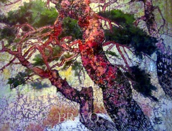 ▲[그림2] 홍소안 '인왕산 소나무' 광목에 아크릴, 72×60cm, 2008년 (이재준 미술품 수집가)