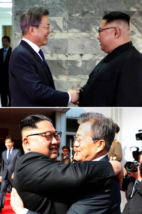 ▲문재인 대통령과 북한 김정은 국무위원장이 26일 오후 판문점 북측 통일각에서 전격적으로 만나 정상회담을 하기에 앞서 반갑게 악수를 하고(사진 위) 헤어지며 포옹하고 있다. (사진제공=청와대)