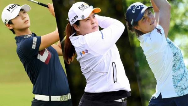 ▲왼쪽부터 박성현, 박인비, 엠마 탤리(사진=LPGA)