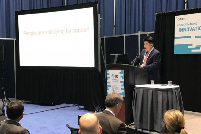 ▲지난 5일 보스턴에서 열린 BIO 2018에서 기업발표를 진행하고 있는 유진산 파멥신 대표