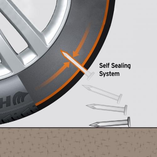 ▲실란트 타이어는 펑크가 발생해 안쪽 공기가 유출됨과 동시에 안쪽 실가드가 빠져나오면서 구멍을 막는 방식이다. 사진제공=한국타이어