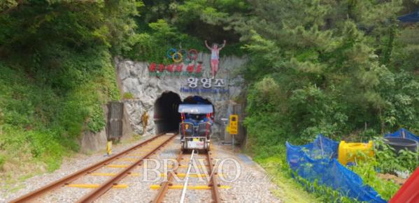 ▲황영조 선수를 기념하는 터널 입구(조왕래 동년기자)
