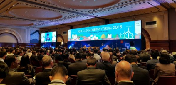 ▲지난 6일 필리핀 마닐라에서 한국에너지공단과 아시아개발은행이 공동 개최한 '2018 아시아 클린 에너지 포럼(ACEF)' 개회식에서 한국에너지공단 우영만 글로벌사업실장이 환영사를 하고 있다.(한국에너지공단)