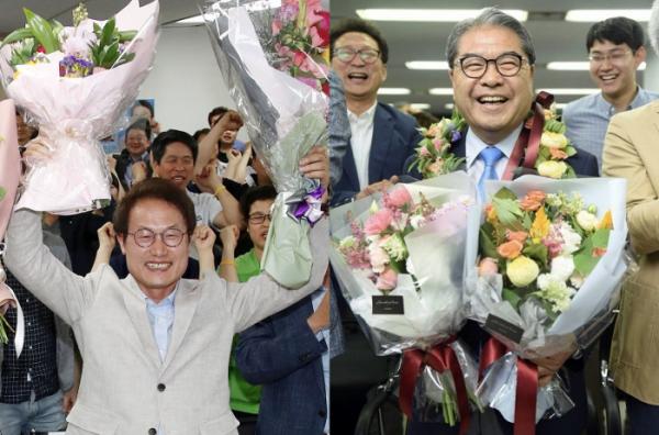 ▲조희연 서울시교육감 후보(왼쪽)와 이재정 경기교육감 후보(연합뉴스)