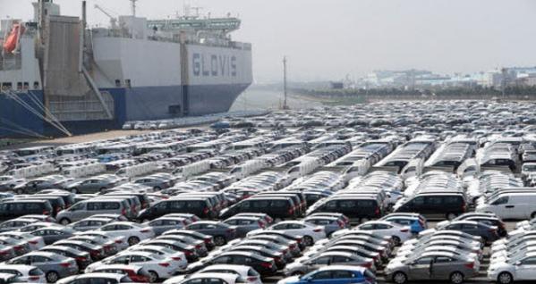 ▲미국으로의 수출을 앞두고 있는 한국산 자동차.(연합뉴스)