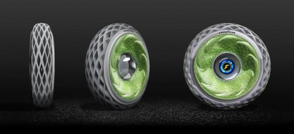 ▲다국적 타이어기업 굿이어는 '2018 제네바 모터쇼'에서 이끼 의 광합성 작용을 통해 산소를 생산하는  '옥시즌 콘셉트' 타이어를 선보였다.
