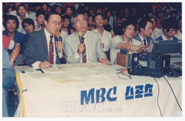 ▲MBC 복싱 해설위원 시절 명콤비였던 차인태 아나운서. (한보영 작가 제공)